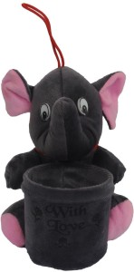 Joy Mart Stuffed Soft Toy Elephant With Love with pen Holder stand Grey color  - 16 cm