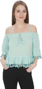 Stylome Casual 3/4th Sleeve Solid Women's Light Blue Top