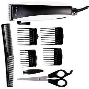Surker Sk 5601 Hair Clipper Salon Kit Corded Trimmer Black Silver