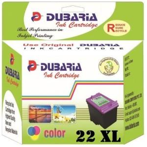 Dubaria 22 XL TriColor Ink Cartridge Compatible For HP 22 XL / C9352CA TriColor Ink Cartridge For Use In DeskJet D1360, D1460, D1550, D1560, D2360, D2460, 3920, 3940, F370, F380, F2120, F2179, F2180, F2235, F2275, F2276, F2280, F4185, 1402, 1410, 4355 Printers - High Yield Cartirdge Multi Color Ink