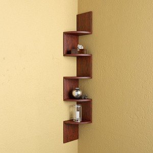 Shrih Zigzag Shape Corner MDF Wall Shelf