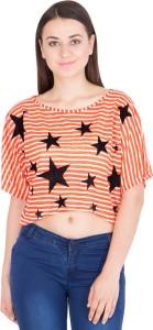 Khhalisi Casual Short Sleeve Printed Women's Orange Top