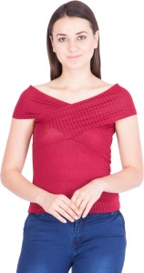 Khhalisi Casual Short Sleeve Solid Women's Red Top