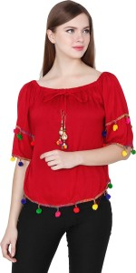 My Swag Casual Half Sleeve Solid Women's Red Top