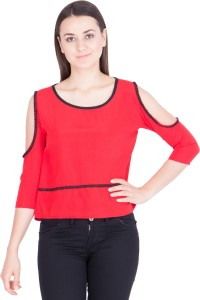 Khhalisi Casual 3/4th Sleeve Solid Women's Red Top