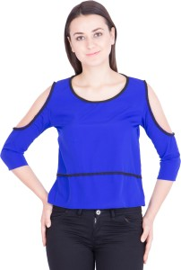 Khhalisi Casual 3/4th Sleeve Solid Women's Blue Top