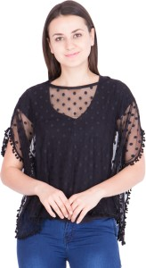Khhalisi Casual Short Sleeve Solid Women's Black Top