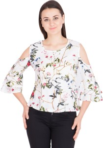 Khhalisi Casual Bell Sleeve Printed Women's White Top