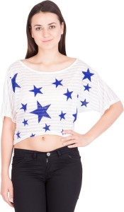 Khhalisi Casual Short Sleeve Printed Women's White Top