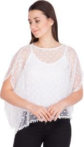 Khhalisi Casual Short Sleeve Self Design Women's White Top