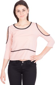 Khhalisi Casual 3/4th Sleeve Solid Women's Pink Top