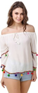 Damen Mode Casual 3/4th Sleeve Solid Women's White Top