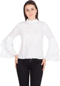 Khhalisi Casual Full Sleeve Solid Women's White Top