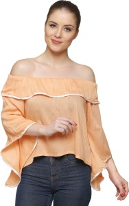 Stylome Casual Bell Sleeve Solid Women's Multicolor Top