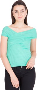 Khhalisi Casual Short Sleeve Solid Women's Green Top