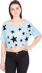 Khhalisi Casual Short Sleeve Printed Women's Blue Top