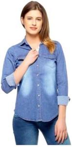 ARP Girl's Self Design Casual Denim Light Blue Shirt