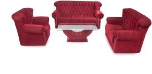 Furnicity Fabric 3 + 2 + 1 Maroon Sofa Set