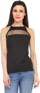 Cation Casual Sleeveless Solid Women's Black Top