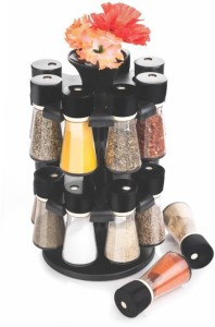 Divine Black 16-Jar Revolving Spice Rack Masala Box Condiment Set