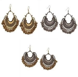 fbb61d9c5 Zephyrr Fashion Oxidized Ethnic Beaded Chandbali Earrings Women Combo of 3  Alloy Dangle Earring