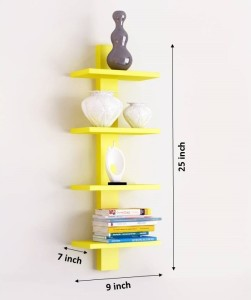 The New Look Tier Yellow Wooden Wall Shelf