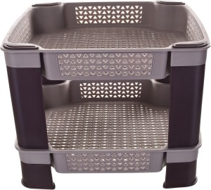 TRUENOW Ventures Pvt. Ltd. Plastic Multipurpose 2-Tier Utility Rack Plastic Wall Shelf