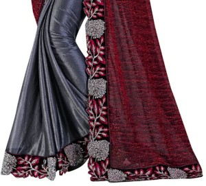 ade10915a9 Rudra Fashion Embroidered Bollywood Lycra Saree Red Best Price in ...