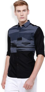 Locomotive Men's Printed Casual Black, Grey Shirt