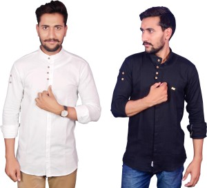 Duenite Men's Solid Casual White Shirt