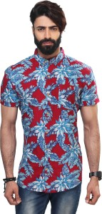 Vintage Soul Men's Floral Print Casual Red Shirt