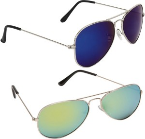 4bd3b6c09404e Magjons Combo Of Blue Green Mirror Aviator Sunglasses Blue Green ...