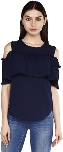Good Fashion Party Butterfly Sleeve Solid Women's Blue Top