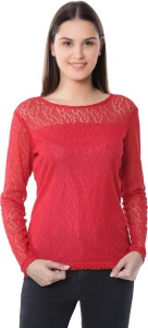 VirgoStreet Casual Full Sleeve Lace Women's Red Top