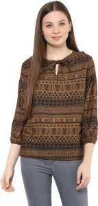Mayra Party 3/4th Sleeve Solid Women's Brown Top