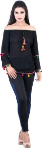 Spex Jet Casual 3/4th Sleeve Self Design Women's Black Top