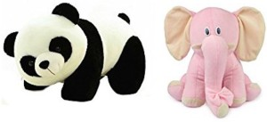 RMA Panda Soft Toy (26 cm) and Pink Sitting Elephant combo  - 25 cm