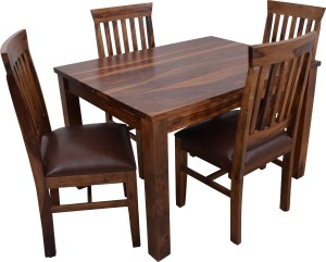 cfe406bcea5 Induscraft Solid Wood 4 Seater Dining Set Finish Color DARK NATURAL ...