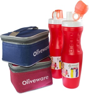 Oliveware 2 Sipper with 2 Lunch box with 4 Containers Lunch Box