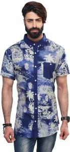 Vintage Soul Men's Floral Print Casual Blue Shirt