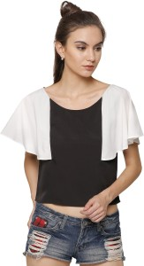 Marzeni Party Cape Sleeve Color Blocked Women's Multicolor Top