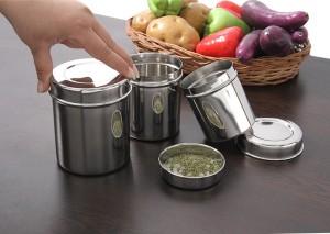 Bhalaria Ubha Dabba Set 3 Pieces  - 250 ml, 450 ml, 600 ml Stainless Steel Food Storage