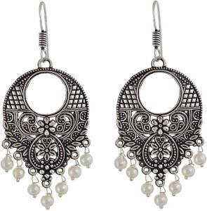 Subharpit Exclusive Designe Pretty Please Pearl Metal Dangle Earring