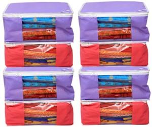 Kuber Industries Designer Non woven Saree cover Bag Set of 8 Pcs /Wardrobe Organiser/Regular Clothes Cover KI19153P45
