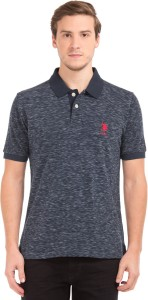 U S Polo Assn Solid Men S Polo Neck Blue White T Shirt Best Price In