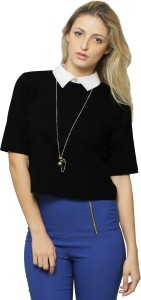 Miss Chase Casual Short Sleeve Solid Women's Black, White Top
