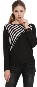 United Colors of Benetton Casual Full Sleeve Printed, Solid Women's Black Top