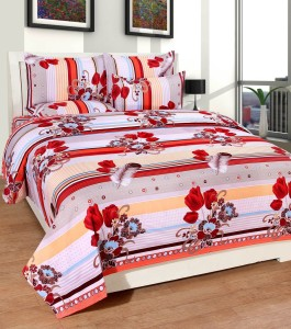 cdfe55e666e Warmland Polycotton 3D Printed Double Bedsheet 1 Bedsheet with 2 ...