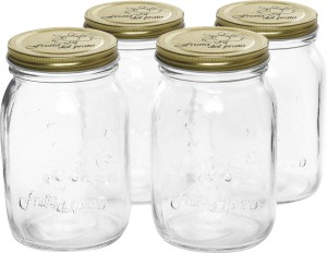 Serenus Homes Preserve Mason Jar for Canning / Storing with Airtight Gold Metal Lid  - 500 ml Glass Multi-purpose Storage Container