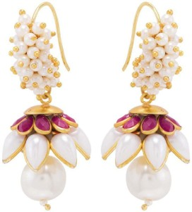 Nia for Voylla Artificial Classic Plain Crystal Brass Dangle Earring